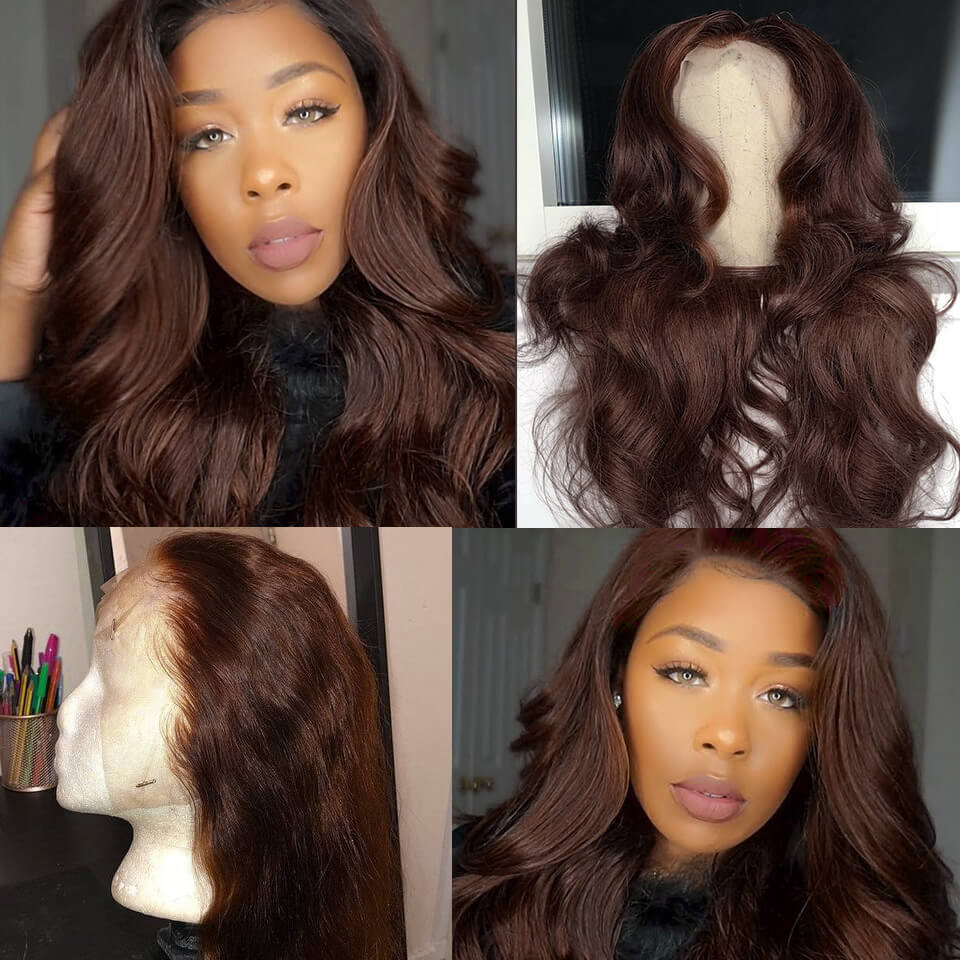 body wave #4 colored lace front wigs