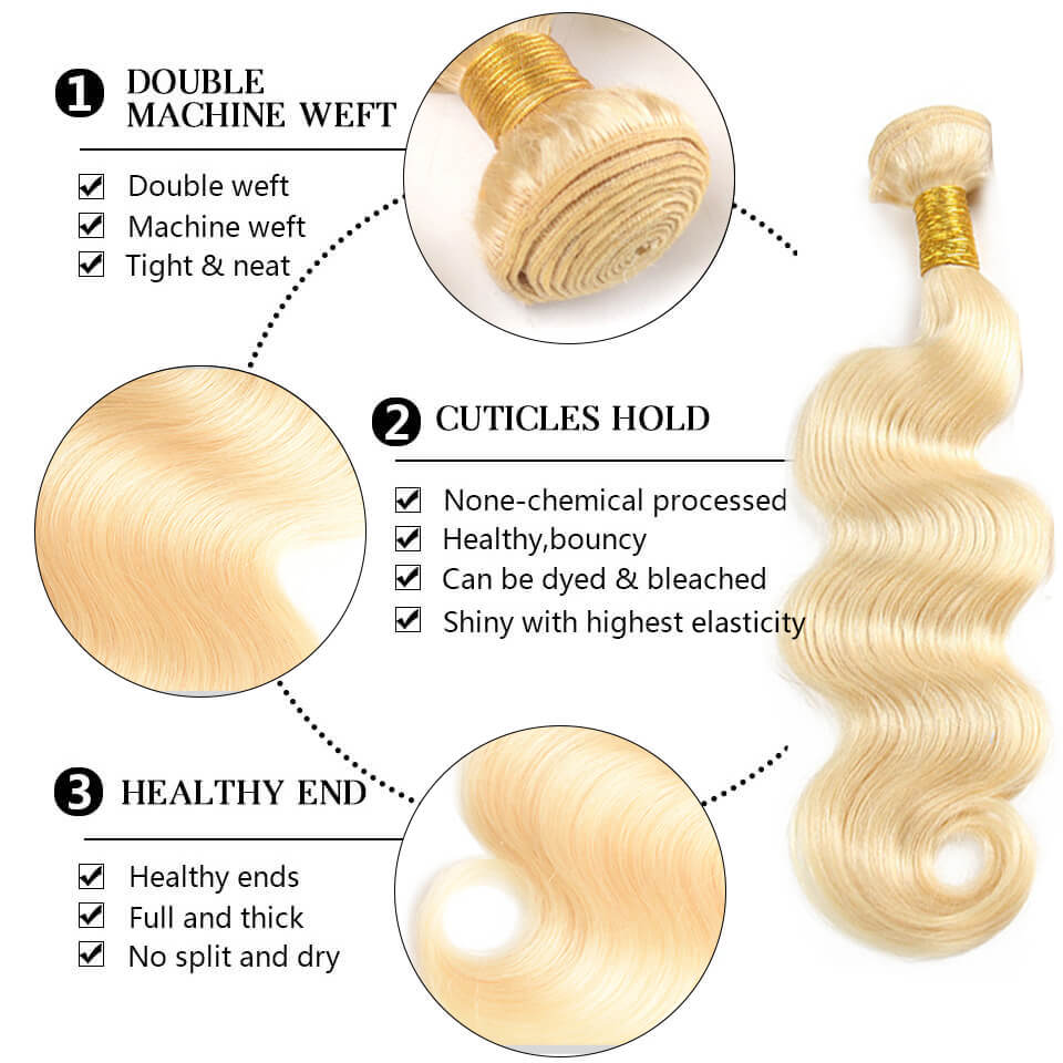 613 body wave hair bundles with closure