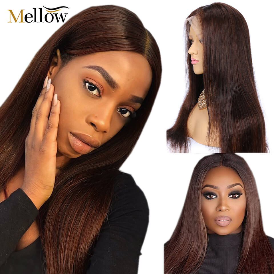 #4 colored straight hair lace front wigs