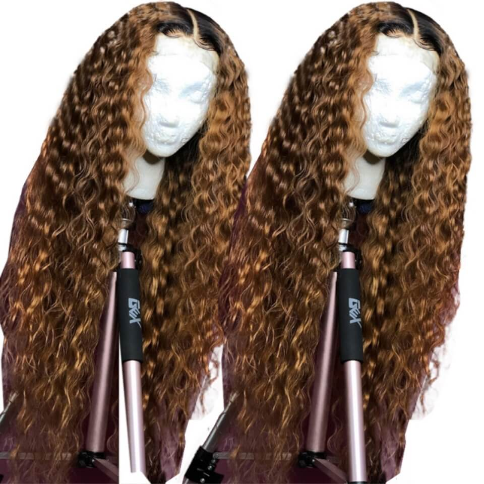 ombre color kinky curly wigs