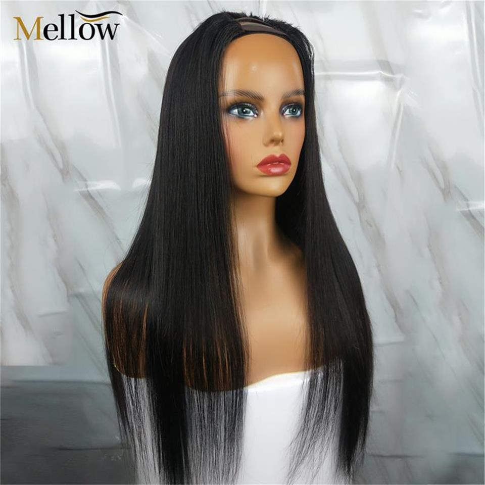 middle  u part wigs straight human hair