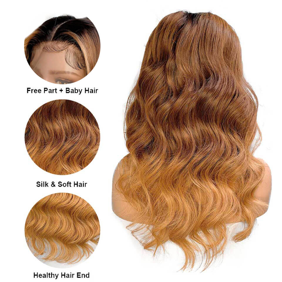 ombre color 1b/6/27 body wave human hair 13x6 wigs