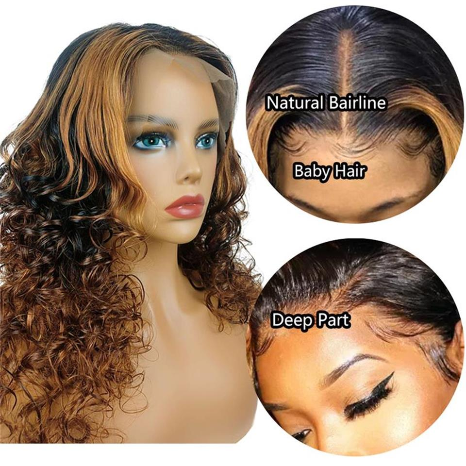 ombre color lace front wigs
