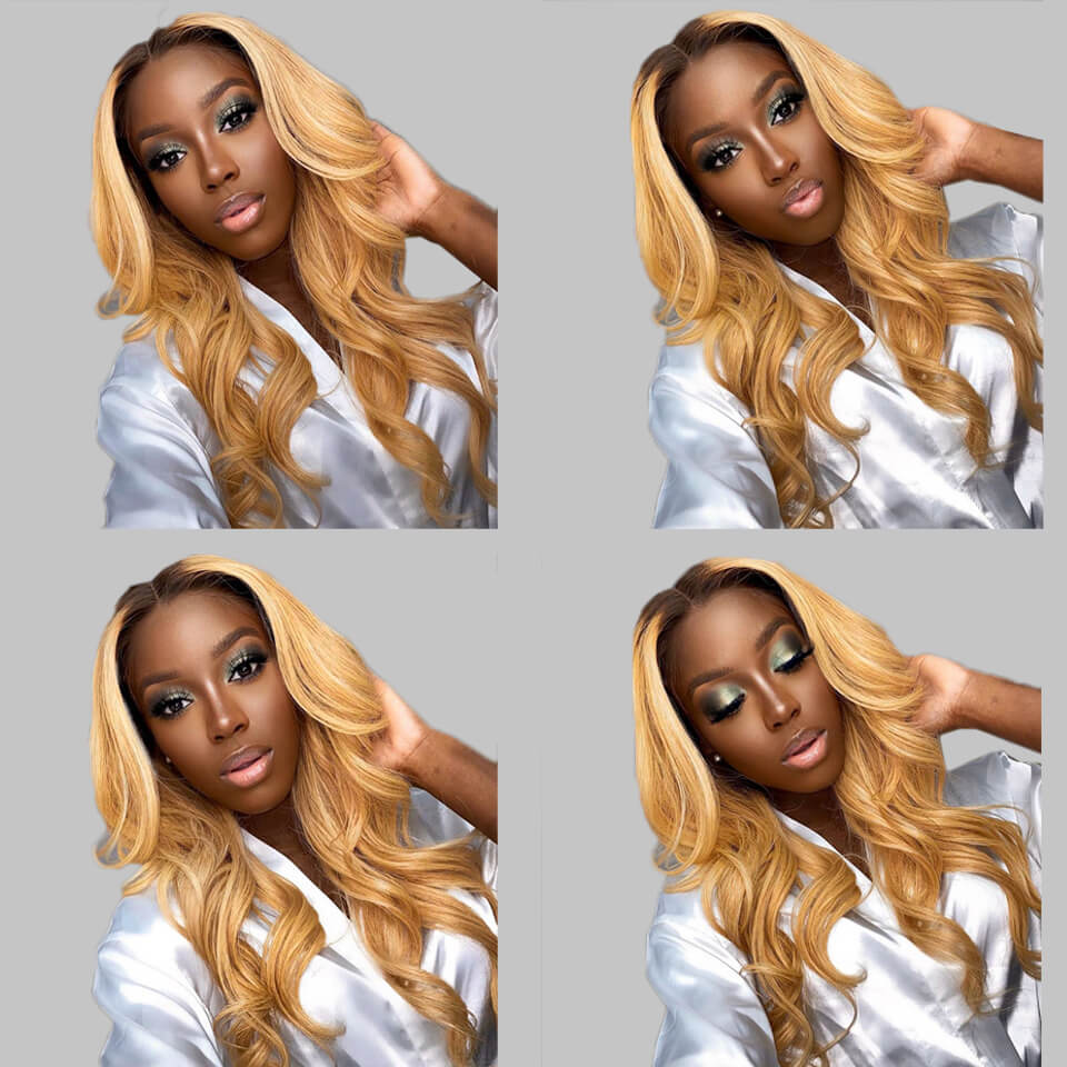 ombre color human hair wigs with baby hair