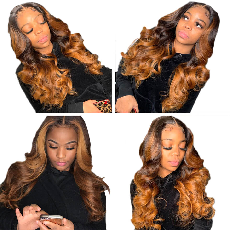 ombre colored 1b/6/27 body wave lace wig