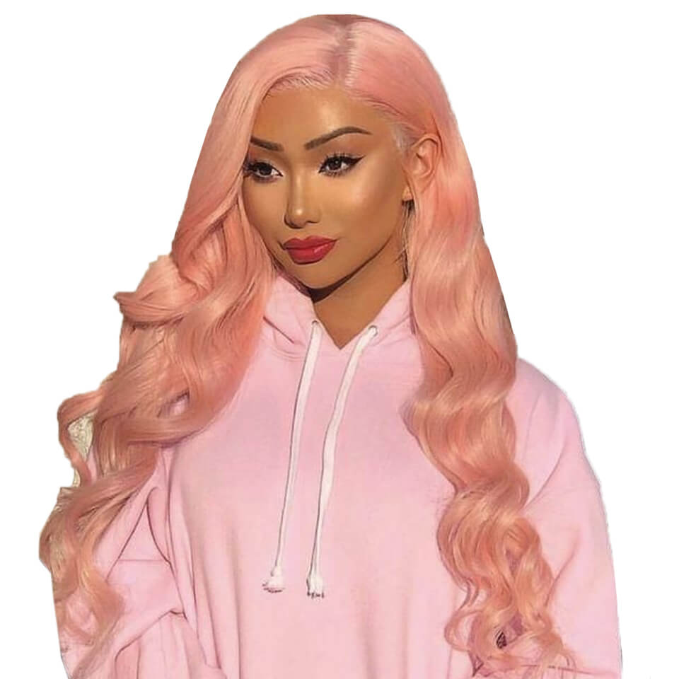 pink colored body wave human hair wigs