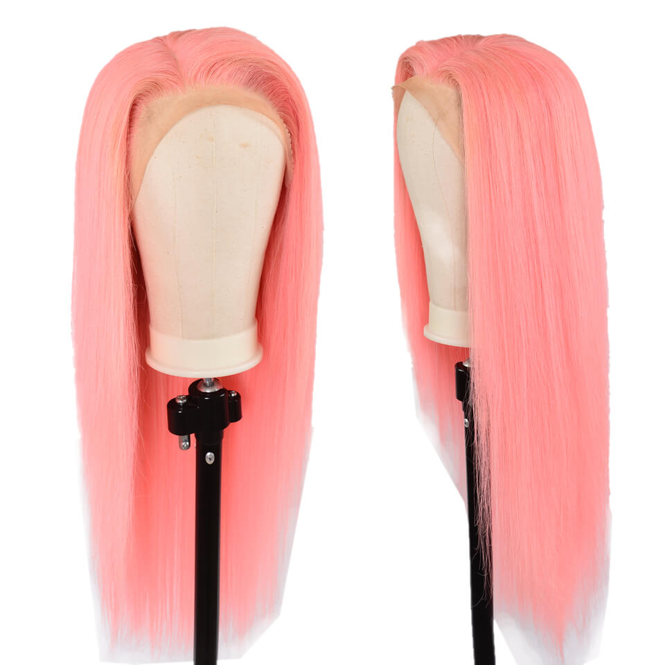 straight human hair wigs pink color