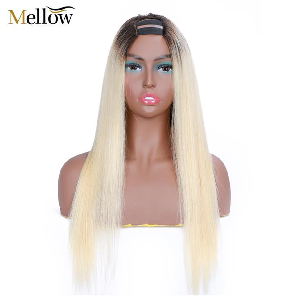 straight hair u part wigs 1b 613 colored