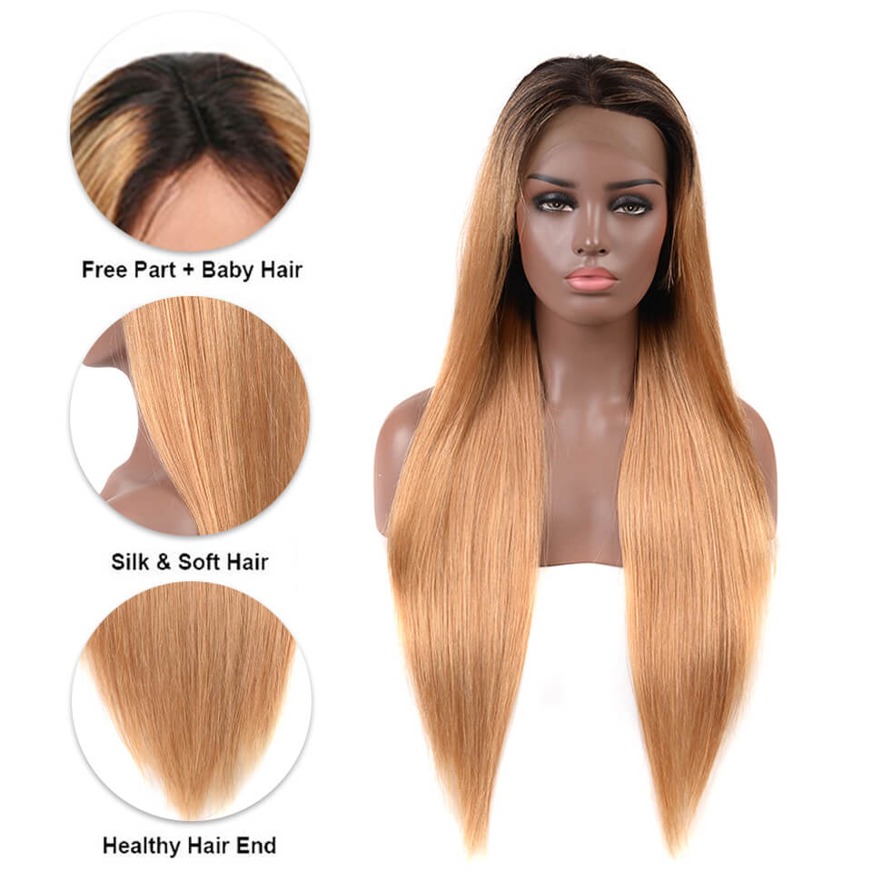 ombre color straight hair wigs