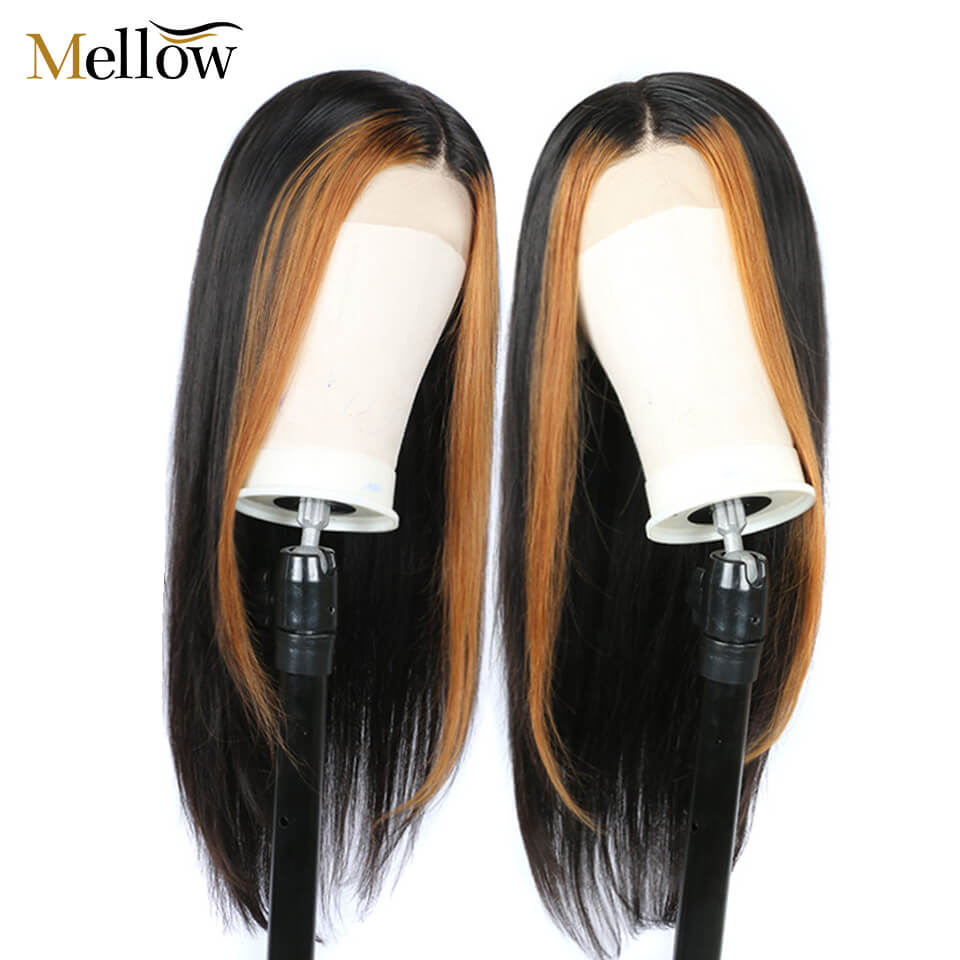 hightlight color straight hair lace front wigs