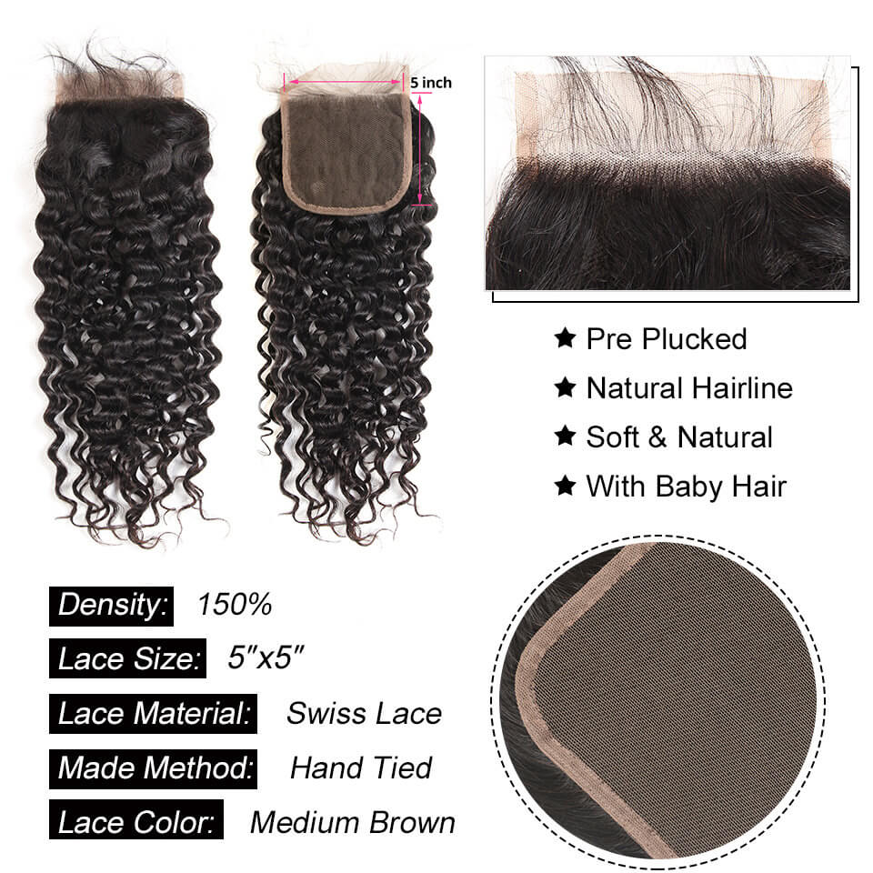 water wave 5x5 lace closure
