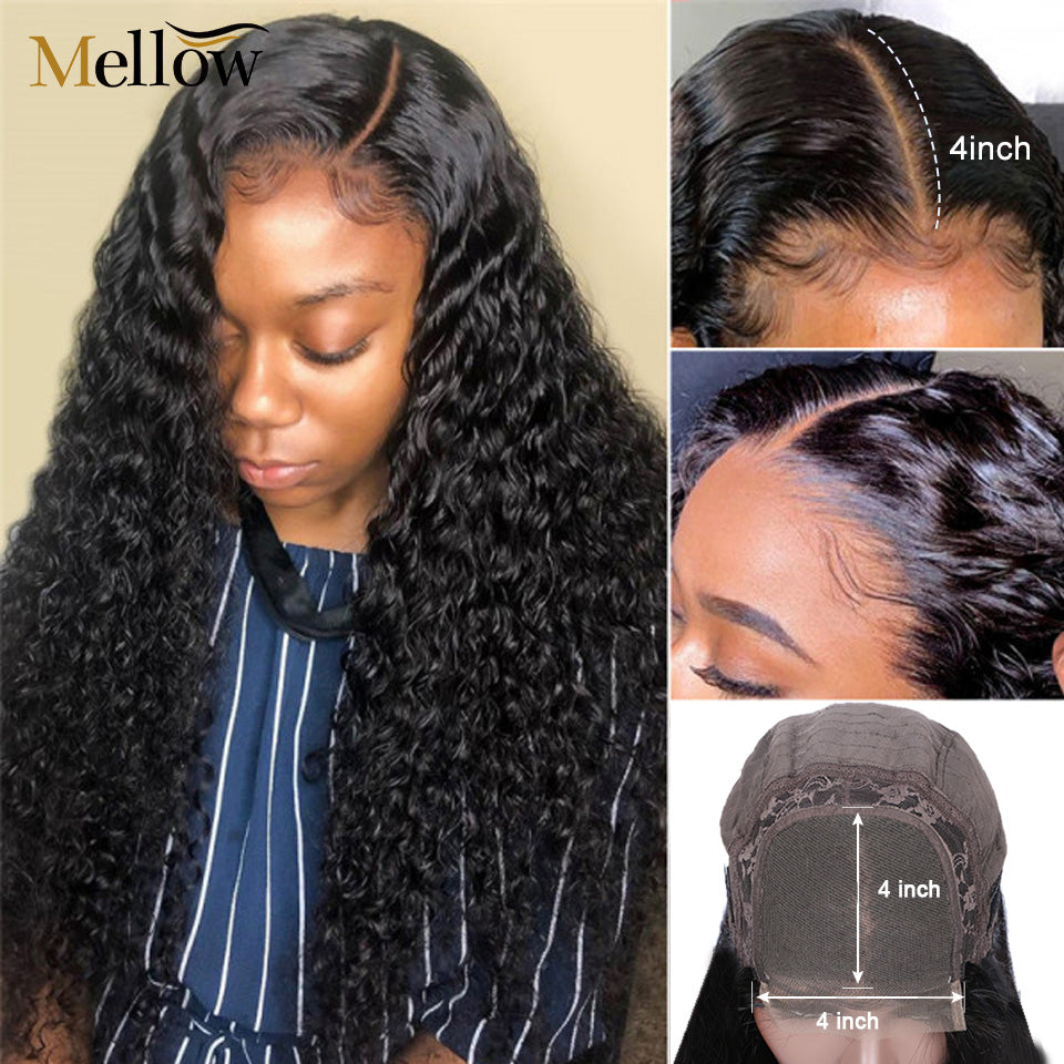 4x4 curly lace closure wigs