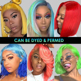 613 straight human hair 13x6 bob wigs can be dyed