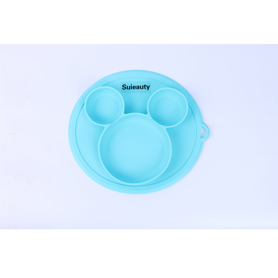 Suieauty Baby Bowl Safe Silicone Plate BPA Free Solid Children Dishes Suction Toddle Training Tableware Cute Cartoon Kids Feeding Bowls
