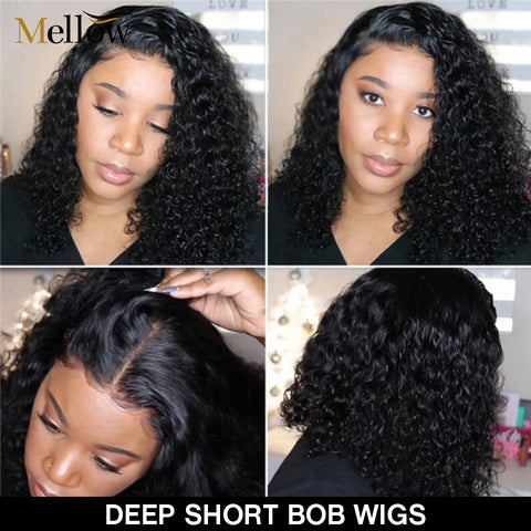 Bob Wigs Deep Wave Hair Wigs Brazilian Virgin Hair Lace Front Wigs