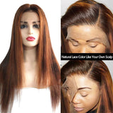 ombre color straight lace front wigs natural lace color