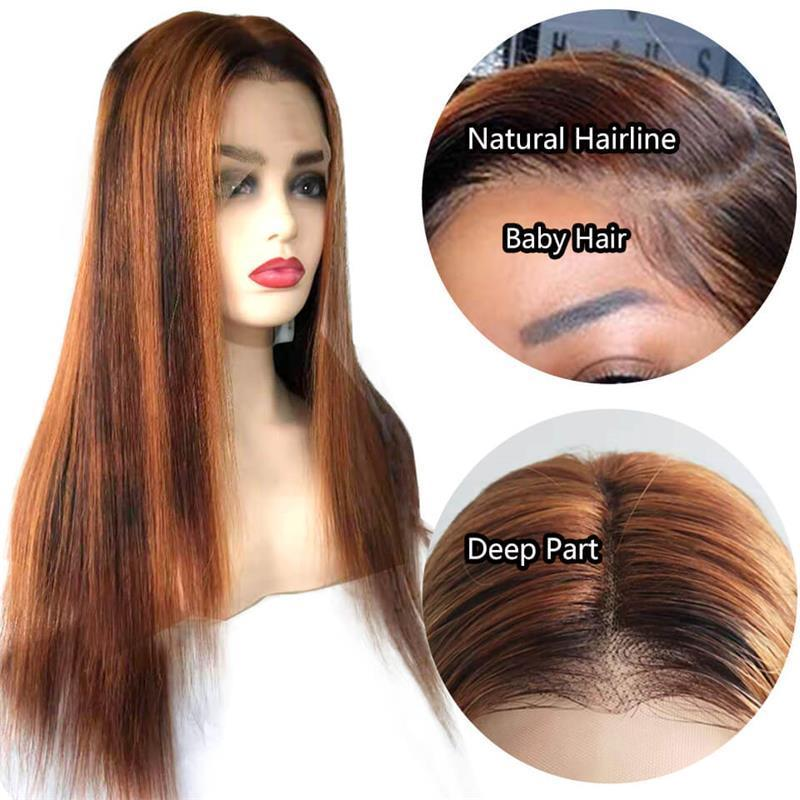 ombre color straight lace front wigs with baby hair