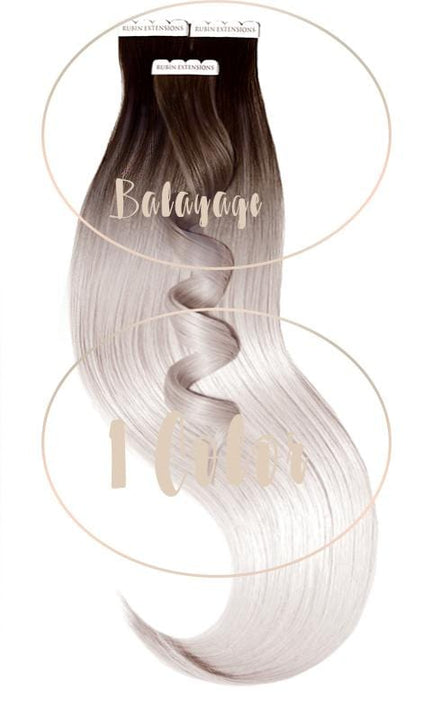 Tape-in Extensions Sombre-Balayages, Schoko-Dunkelbraun & Silberblond