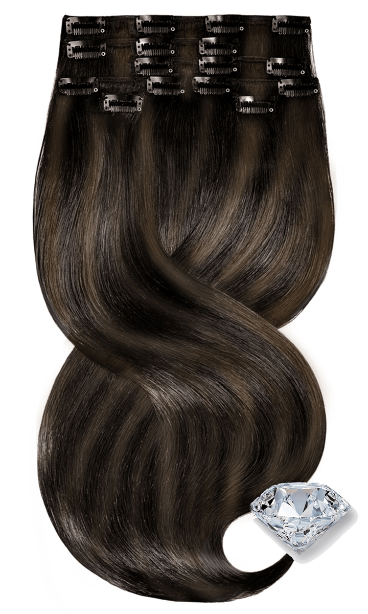 PURE DIAMONDS LINE Schwarz & Natur-Goldbraun Clip Extensions