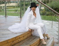 Bridal Trouser Suit with beautiful collar and neckline
