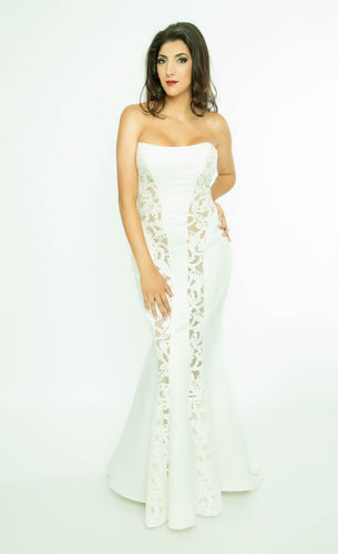Strapless Evening gown with transparent cutaway pieces