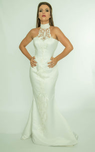 Halterneck Fishtail evening dress, with appliqued front embroidery