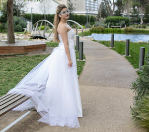 Boned Bodice with A Line Skirt and removable tulle train