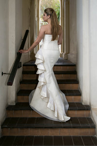 Boned Bodice with Fishhtail skirt & Organza swirl edged in Silk