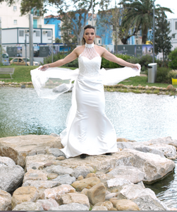 Wedding Dress, with Sweetheart Embroidered Halterneck in beautiful Bridal Satin