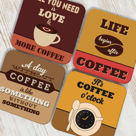 Life and Coffee Coaster Set of 4