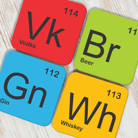 Alcohol Periodic Table Coaster Set of 4