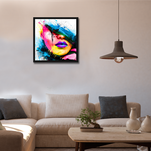 Purple Lips Framed Wall Art - Square