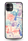 Travel Stamps Glass Case for iPhone 11