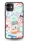 Visa Stamps Glass Case for iPhone 11