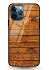 Wooden Vio Texture Glass Case for iPhone 12 Pro