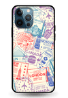 Travel Stamps Glass Case for iPhone 12 Pro