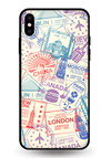 Travel Stamps Glass Case for iPhone XS