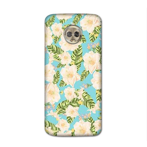White Flower Blue Case for Moto G6