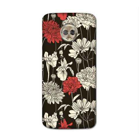 Black Flora Case for Moto G6 Plus