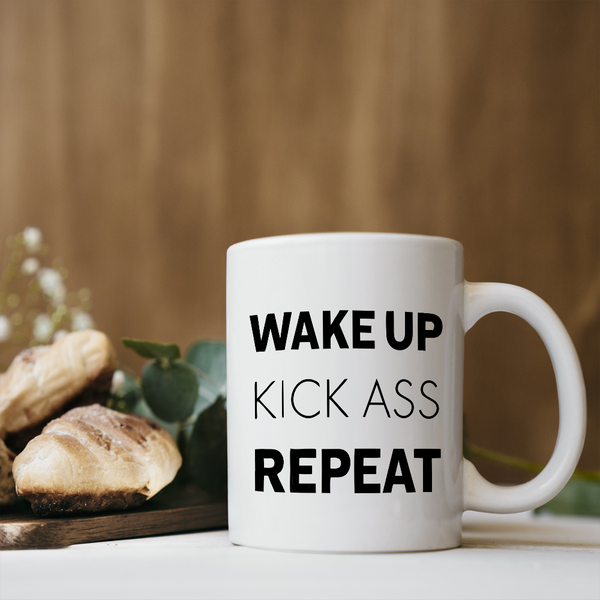 Wake Up Kick Ass Coffee Mug