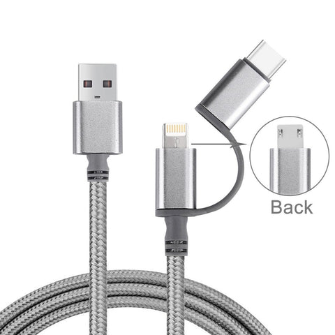 3-in-1 Woven 8-Pin/Micro USB/USB Type-C Cable for Apple & Android Phones - Grey