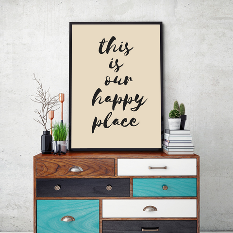 Our Happy Place Framed Wall Art - Portrait
