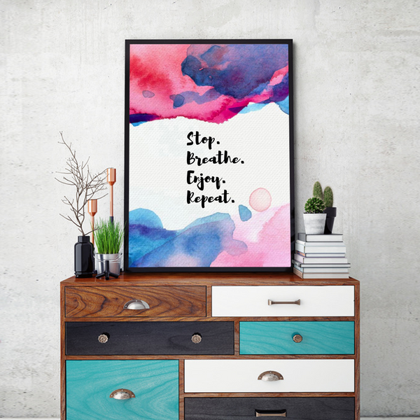 Stop Breathe Enjoy Framed Wall Art - Portrait