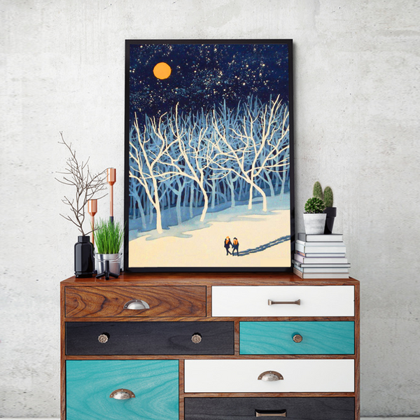 Moon Walk Framed Wall Art - Portrait