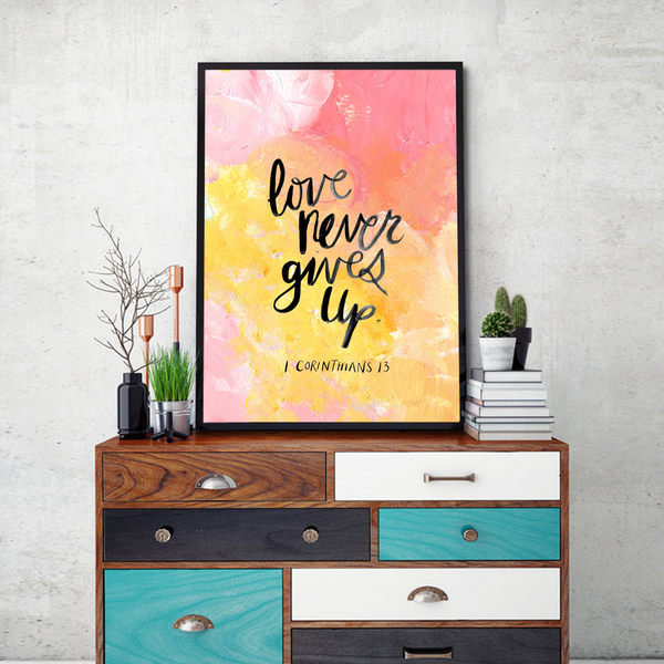 Love Never Gives Up Framed Wall Art - Portrait