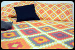 Queen Size Colorful Cotton Fitted Bed Sheets Set by Naqsh (Style: Zoha)