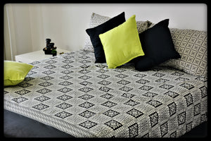 Queen Size Cotton Fitted Bed Sheet Set by Naqsh (Style: Shatranj)
