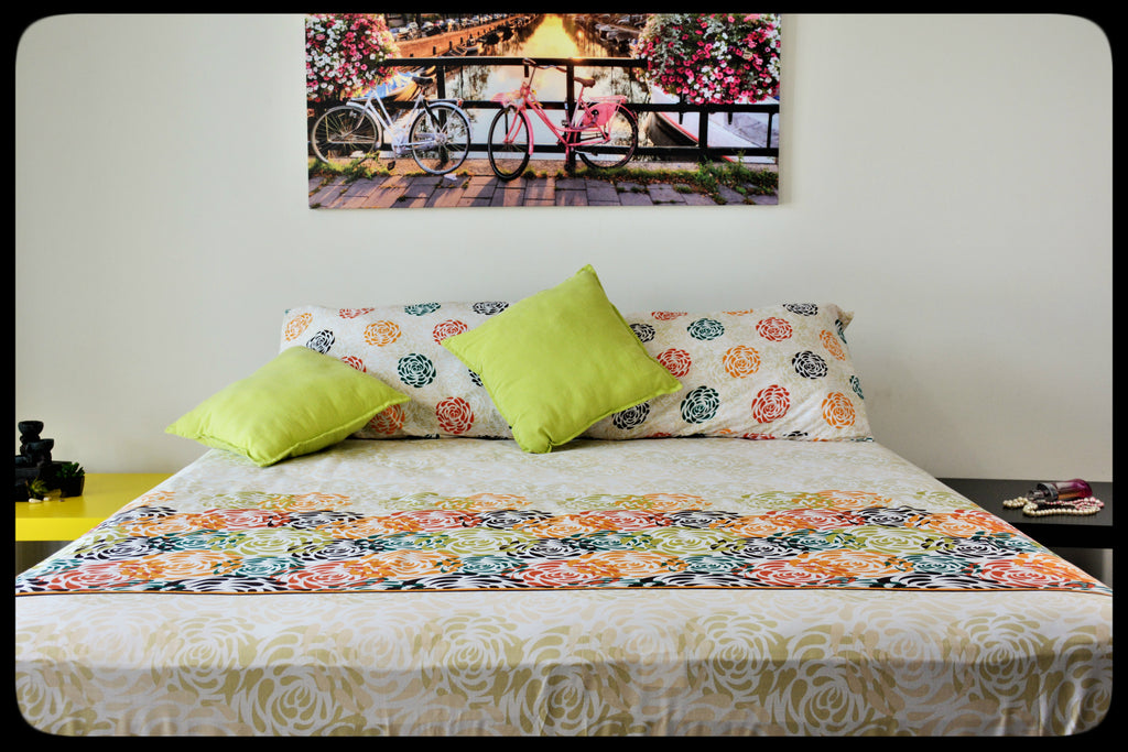 King Size & Queen Size Colorful Cotton Bed Sheets (Fitted Sheets) by Naqsh (Style: Satrang)