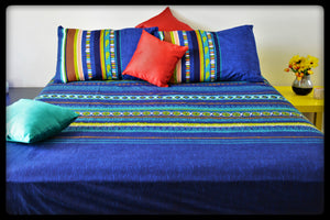 King Size & Queen Size Bed sheets. Quality Bed Sheets. Colorful Cotton Bed Sheets (Fitted Sheets) by Naqsh (Style: Peacock)