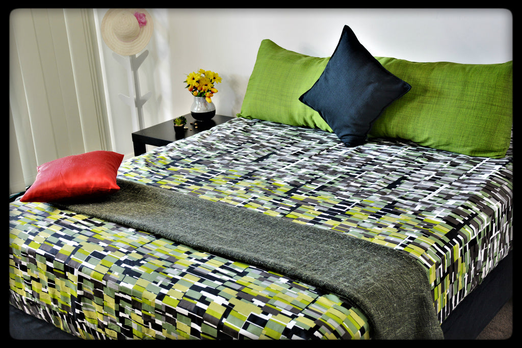King Size & Queen Size Colorful Cotton Bed Sheets (Fitted Sheets) by Naqsh (Style: Military)